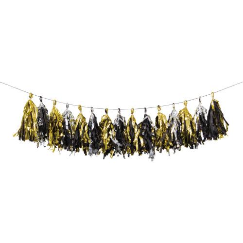 "Pack of 6 Silver and Gold Celebration Tassel Garlands 96"" - IMAGE 1"