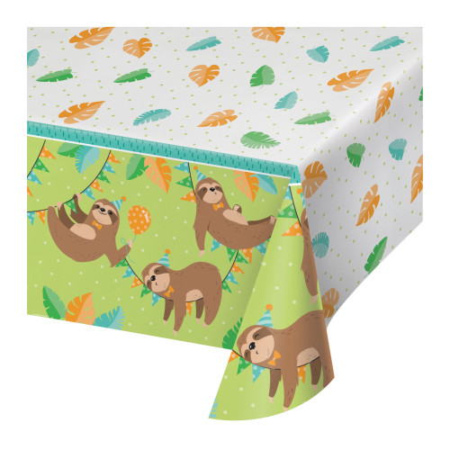 """Pack of 6 White and Green Disposable Sloth Table Cloth 102"""" - IMAGE 1"""