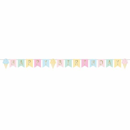 """Club Pack of 12 Pink and Yellow Ice Cream """"HAPPY BIRTHDAY"""" Party Banners 99.5"""" - IMAGE 1"""
