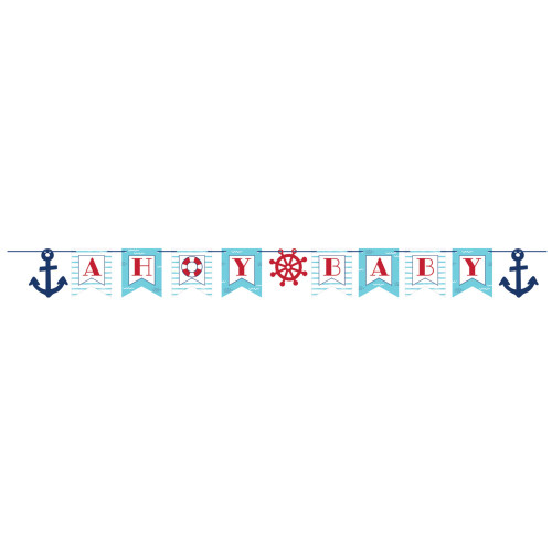 """Pack of 12 Blue and Pink """"Ahoy Baby"""" Party Banners 74"""" - IMAGE 1"""