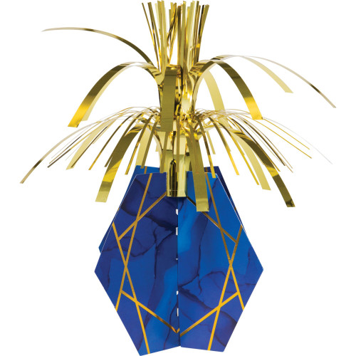 "Pack of 6 Navy Blue and Gold Geode Centerpieces with Base 13"" - IMAGE 1"