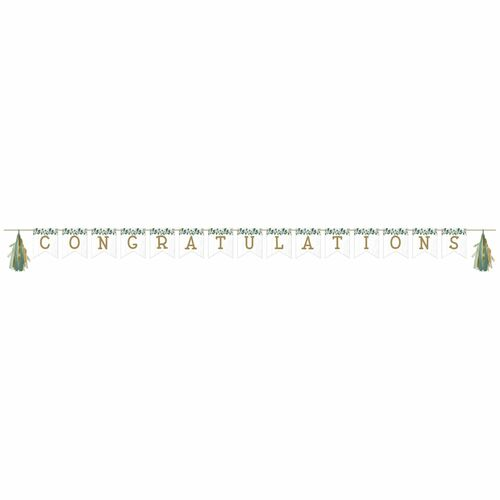 """Club Pack of 12 White and Green """"CONGRATULATIONS"""" Tassel Party Banners 101.5"""" - IMAGE 1"""