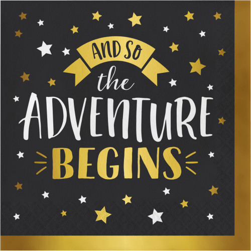"""Club Pack of 192 Black and Gold Adventure Begins 3-Ply Luncheon Napkins 6.5"""" - IMAGE 1"""