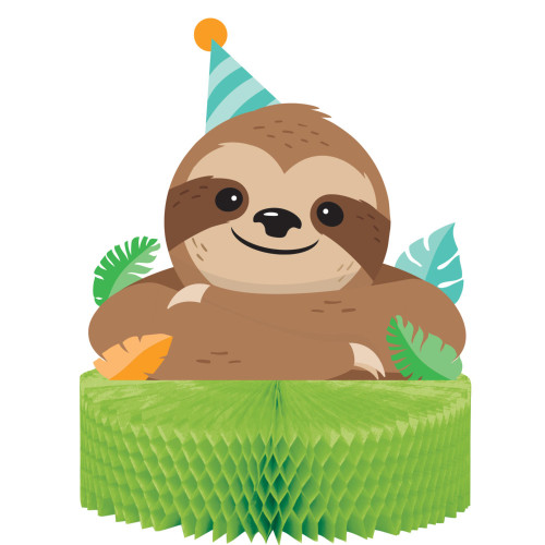 """Pack of 6 Brown and Green Sloth Party Centerpiece 12"""" - IMAGE 1"""
