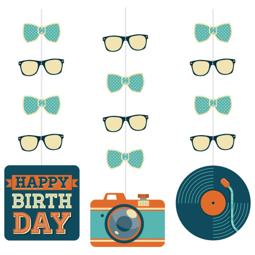 """Club Pack of 36 Blue and Orange Hipster Birthday Hanging Cutouts 32"""" - IMAGE 1"""