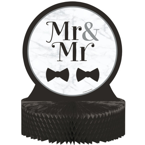 """Pack of 6 Black and White Mr. and Mr. Wedding Centerpieces 12'"""" - IMAGE 1"""
