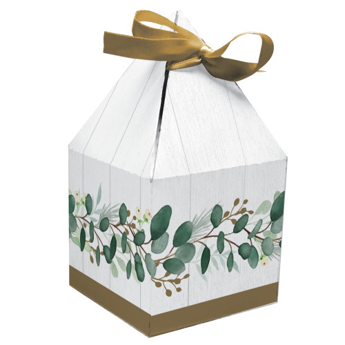 """Club Pack of 48 White and Green Eucalyptus Favor Boxes 6"""" - IMAGE 1"""