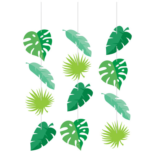 "Club Pack of 36 Green Jungle Leaves Hanging Tissue Paper Fan Party Decorations 32"" - IMAGE 1"