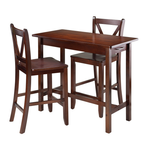 "Set of 3 Warm Walnut Breakfast Table with V-Back Design Stool 39.25"" - IMAGE 1"