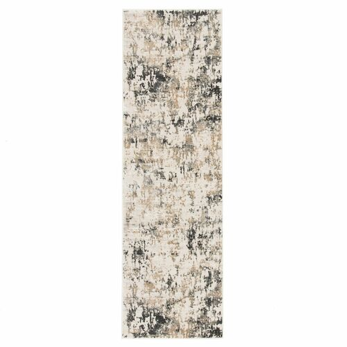 2.5' x 8' Charcoal Gray and Brown Distressed Finish Rectangular Area Throw Rug Runner - IMAGE 1