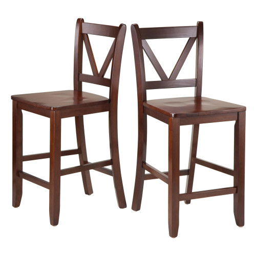 "Set of 2 Walnut Unique Victor 2-Piece V Back Design Comfortable Counter Stools, 39"" - IMAGE 1"