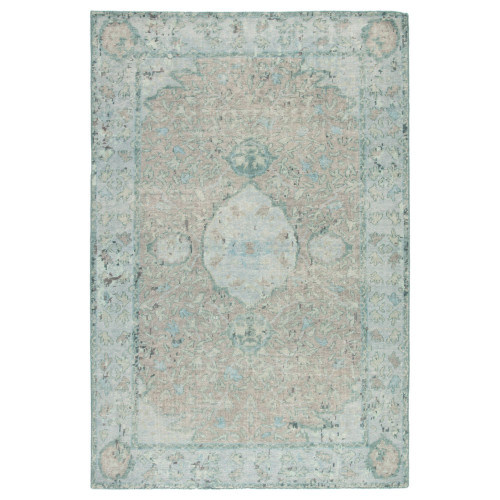 12' x 15' Aqua Blue and Beige Traditional Hand Knotted Rectangular Area Throw Rug - IMAGE 1
