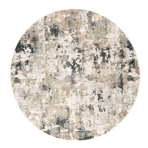 8' White and Gray Abstract Round Area Throw Rug - IMAGE 1