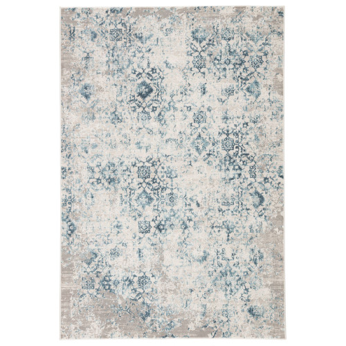 7.5' x 9.5' Ivory and Blue Transitional Rectangular Area Throw Rug - IMAGE 1