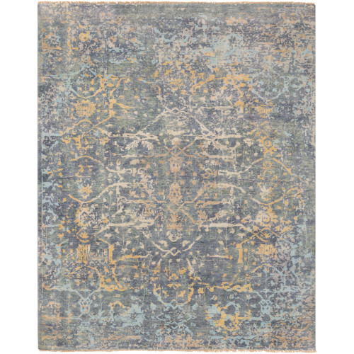 4' x 6' Distressed Finish Blue and Yellow Rectangular Area Throw Rug - IMAGE 1