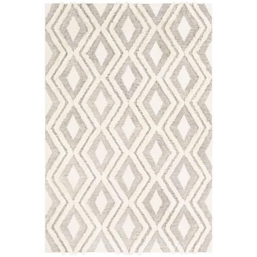 2' x 3' Diamond Patterned Camel Gray and Cream White Area Throw Rug - IMAGE 1