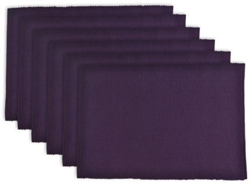 "Set of 6 Eggplant Purple Rectangular Ribbed Placemats 19"" - IMAGE 1"
