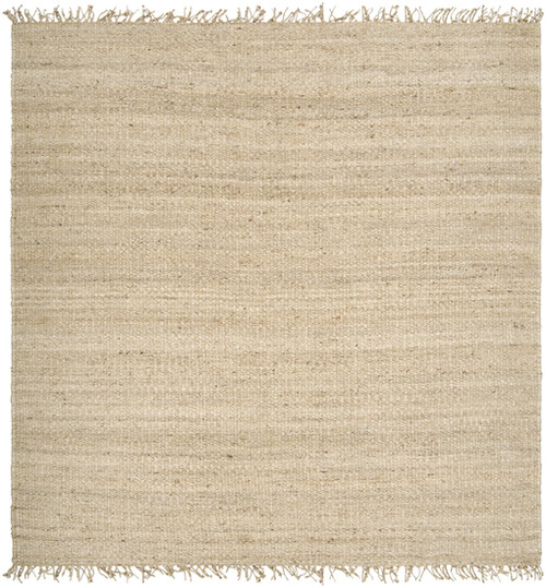 1.5' x 1.5' Simple Solutions Beige and Gray Hand Woven Square Jute Area Throw Rug Corner Sample - IMAGE 1