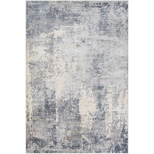 "5'3"" x 7'3"" Distressed Finish Light Gray and Ivory Rectangular Area Rug - IMAGE 1"