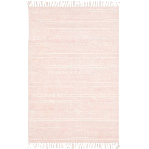 5' x 7.5' Striped Patterned Beige Rectangular Area Throw Rug - IMAGE 1