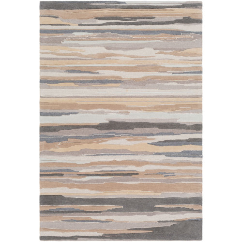 8' x 11' Contemporary Beige and Gray Rectangular Area Throw Rug - IMAGE 1