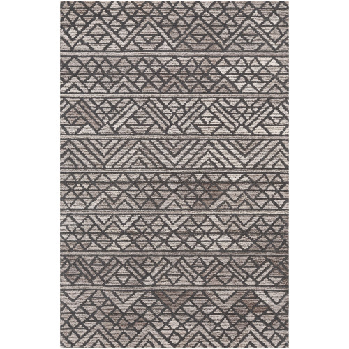 5' x 7.5' Geometric Patterned Gray and Brown Hand Tufted Rectangular Area Throw Rug - IMAGE 1