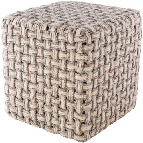 """18"""" Brown and Beige Basket Weave Patterned Wool Cube Pouf Ottoman - IMAGE 1"""
