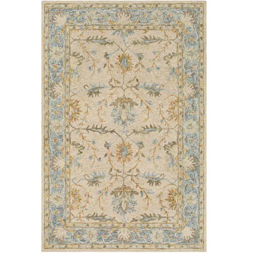 8' x 10' Leaf Pattern Beige and Light Gray Rectangular Hand Tufted Wool Area Throw Rug - IMAGE 1
