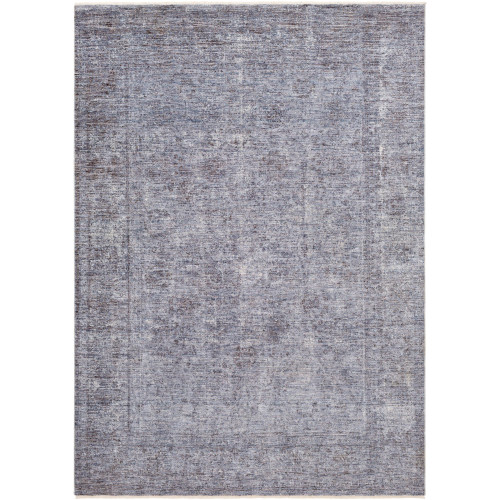 9' x 13' Distressed Finish Blue and Gray Rectangular Area Throw Rug - IMAGE 1