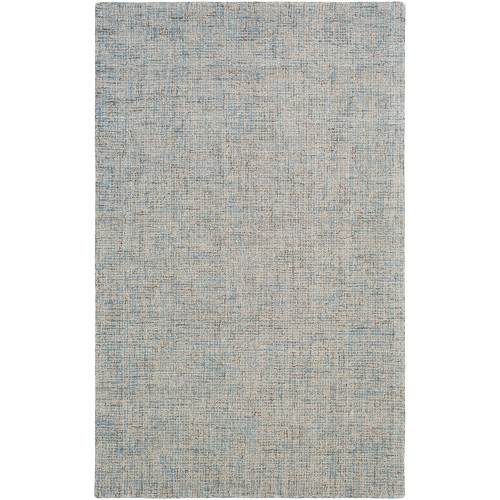 8' x 10' Solid Denim Blue and Beige Rectangular Hand Tufted Area Throw Rug - IMAGE 1