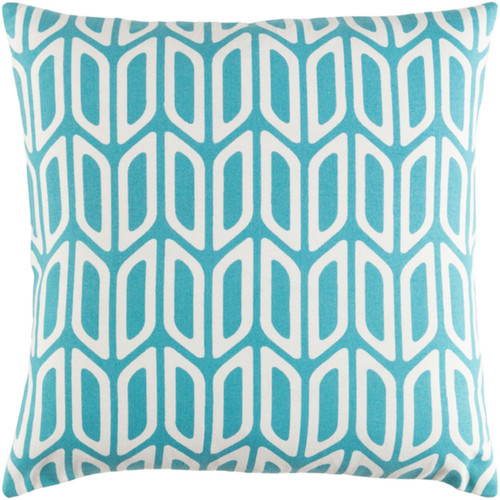 "18"" Teal and Ivory Screen Printed Square Woven Throw Pillow Cover with Knife Edge - IMAGE 1"