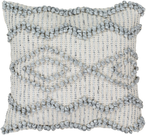 """22"""" Gray and Ivory Knitted Square Throw Pillow Cover - IMAGE 1"""