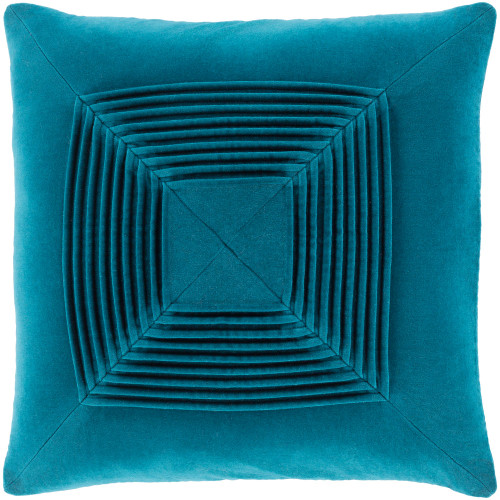 """20"""" Teal Pleated Seamless Square Pattern Throw Pillow Cover - IMAGE 1"""
