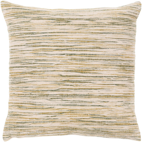 "18"" Beige and Green Striped Pattern Square Throw Pillow Cover - IMAGE 1"