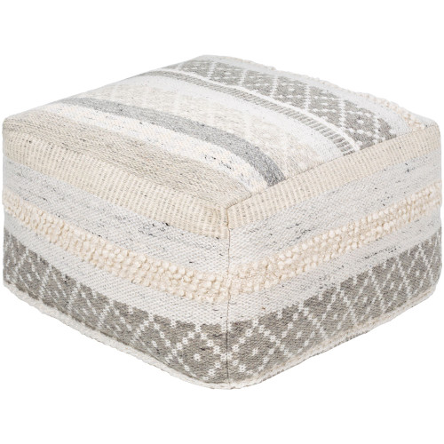 """24"""" Ivory and Gray Bohemian Patterned Cube Pouf Ottoman with Knife Edge - IMAGE 1"""