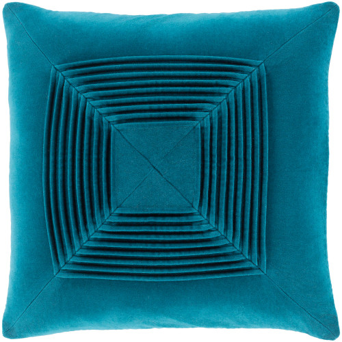 """20"""" Teal Blue Pleated Square Throw Pillow with Knife Edge - Poly Filled - IMAGE 1"""
