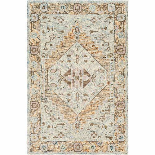 9' x 12' Traditional Style Brown and Blue Rectangular Area Throw Rug - IMAGE 1