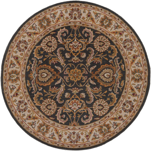 """3'6"""" Floral Persian Design Denim Blue and Brown Round Hand Tufted Wool Area Rug - IMAGE 1"""