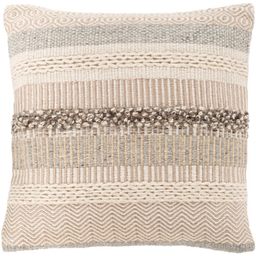 "20"" Beige and Brown Square Woven Embroidered Throw Pillow - Polyester Filler - IMAGE 1"