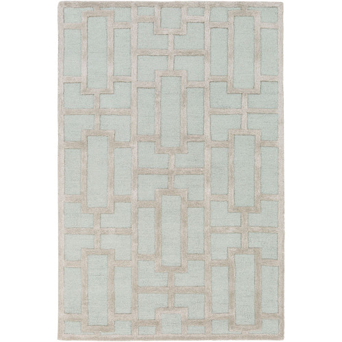 2' x 3' Geometric Pattern Sage Green and Gray Rectangular Hand Tufted Wool Area Throw Rug - IMAGE 1