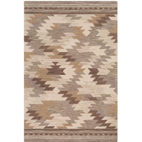 8' x 10' Abstract Ikat Brown and Beige Rectangular Hand Tufted Wool Area Throw Rug - IMAGE 1
