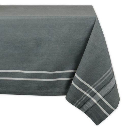 """Chambray Gray and White French Stripe Patterned Rectangular Tablecloth 60"""" x 84"""" - IMAGE 1"""