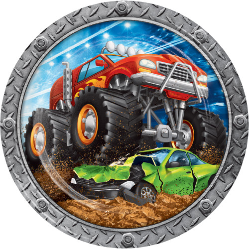 """Club Pack of 96 Red and Black Monster Truck Rally Paper Plates 8.75"""" - IMAGE 1"""