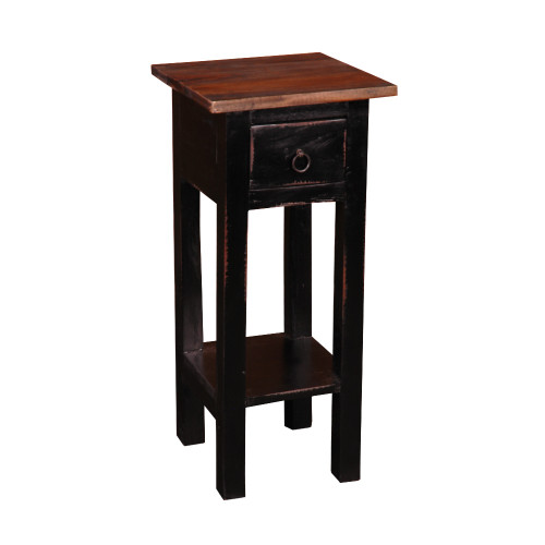 """25.75"""" Antique Black and Brown Cottage Narrow Side Table with Drawer - IMAGE 1"""