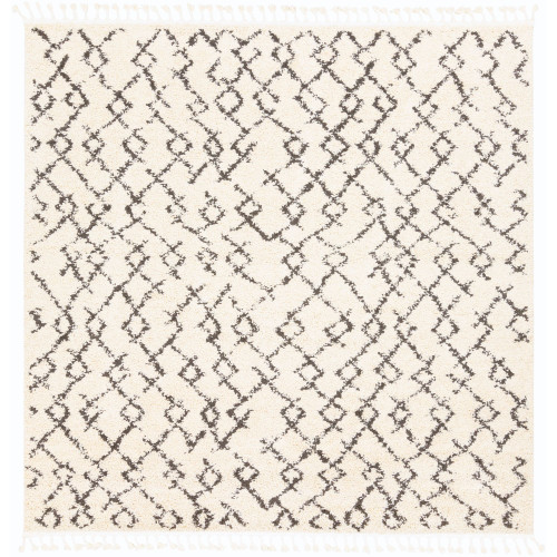7.8' Contemporary Style Charcoal Black and Beige Square Area Throw Rug - IMAGE 1
