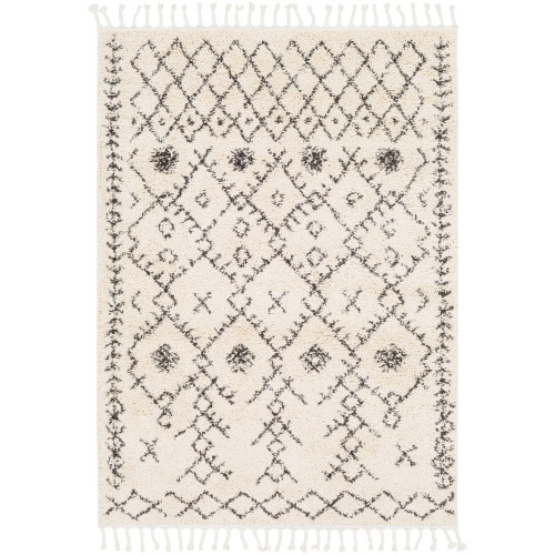 10' x 13.9' Moroccan Style Black and Beige Rectangular Area Throw Rug - IMAGE 1