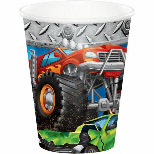 """Club Pack of 96 Orange and Black Monster Truck Rally Printed Party Cups 3.75"""" - IMAGE 1"""