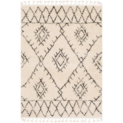 10' x 13.9' Moroccan Style Beige and Black Area Throw Rug - IMAGE 1
