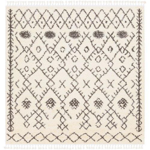 7.8' Contemporary Style Beige and Black Square Area Throw Rug - IMAGE 1