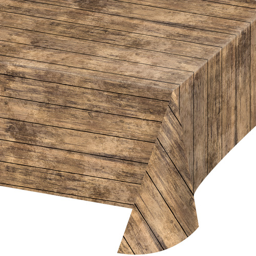 """Club Pack of 6 Wooden Brown Stripped Themed Decorative Table Cover 16.25"""" - IMAGE 1"""
